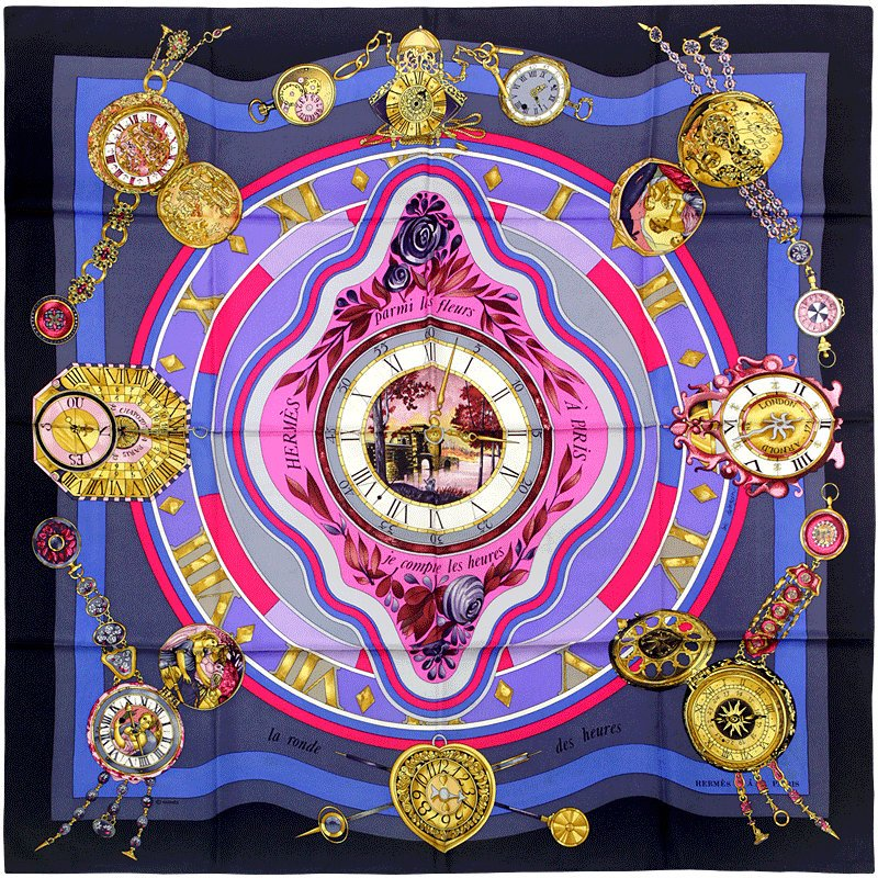 "Hermes Scarf ""Alliances du Monde"" by Loic Dubigeon 90cm Silk 