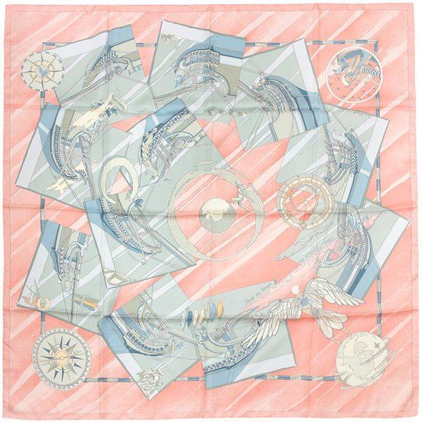 "Hermes Scarf ""Face au Large"" by Dominik Jarlegant 90cm Silk 