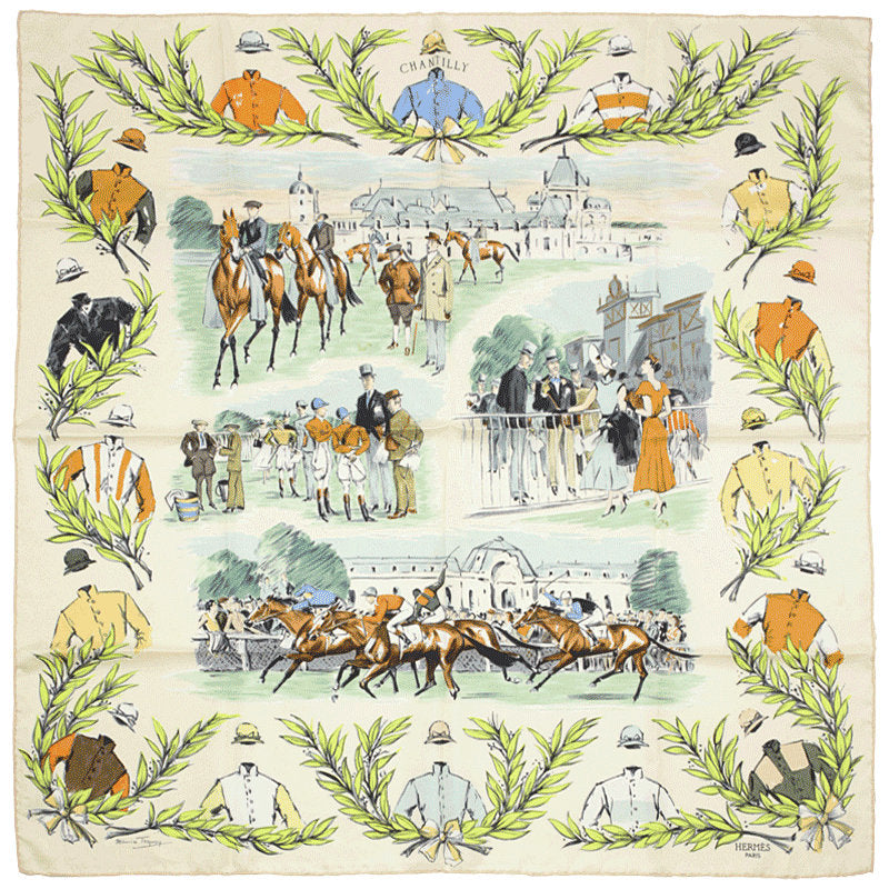"Hermes Scarf ""Chantilly"" by Maurice Tranchant 90cm Silk 