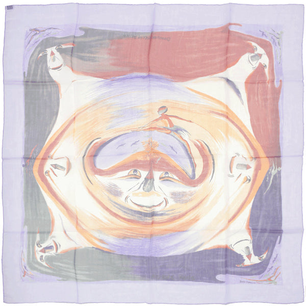 "Hermes Scarf Mousseline ""Smiles in the Third Millenary"" by Sefedin Kwumi 90cm Silk 