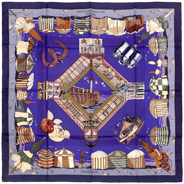 "Hermes Scarf ""Charmes des Plages Normandes"" by Loic Dubigeon 90cm Silk 