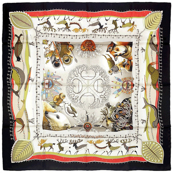 "Hermes Scarf ""Vie du Grand Nord"" by Aline Honore 90cm Silk 