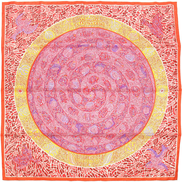 "Hermes Scarf ""Legende du Poisson Corail"" by Christine Henry 90cm Silk 