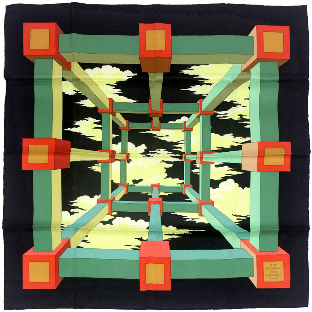 "Hermes Scarf ""Perspective"" by Anne Marie Cassandre 70cm Silk 