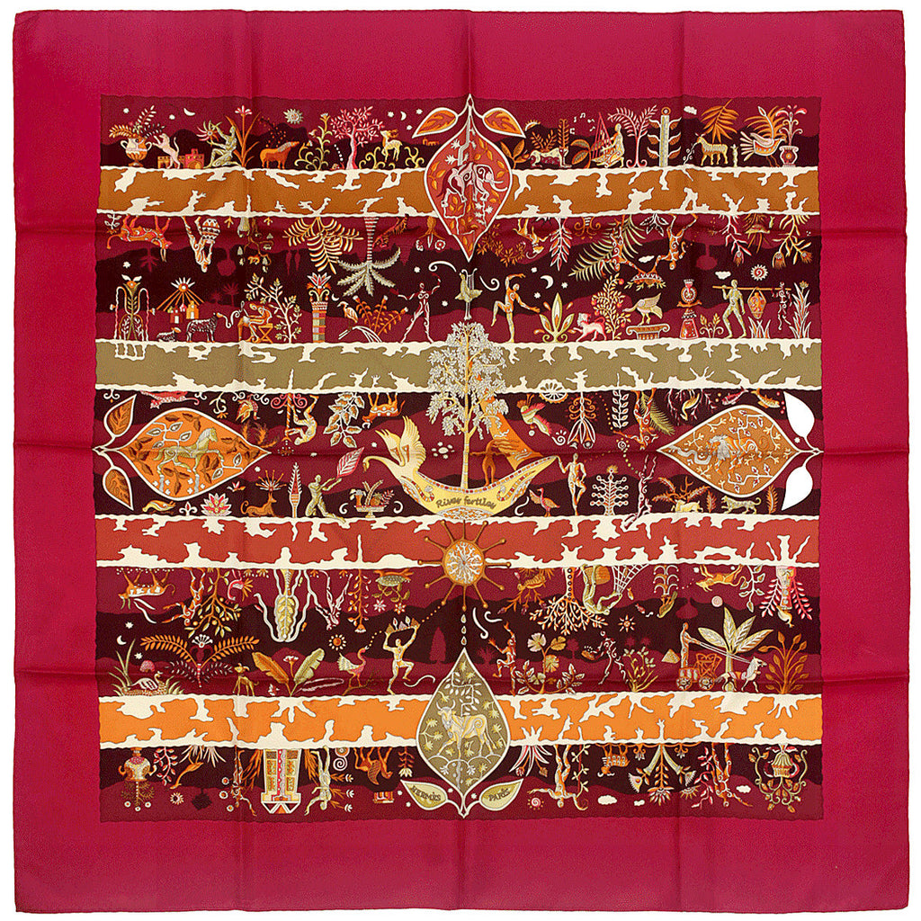 "Hermes Scarf ""Rives Fertiles"" by Christine Henry 90cm Silk 