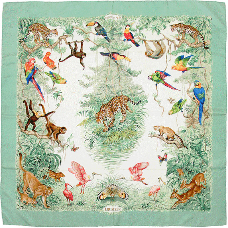 "HERMES SCARF Silk ""Equateur"" by Robert Dallet 90cm Carre Foulard 100% Auth"