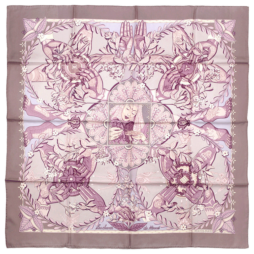 "Hermes Scarf ""Chants du Henne"" by Laurence Bourthoumieux 90cm Silk 
