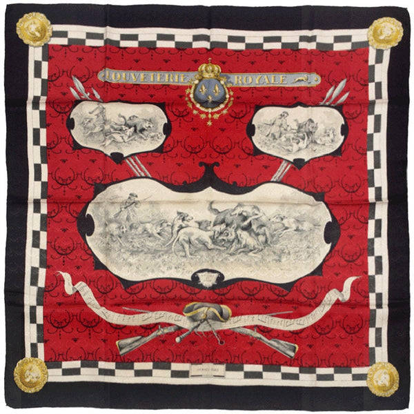 "Hermes Scarf ""Louveterie Royale"" by Charles Hallo 90cm Silk 