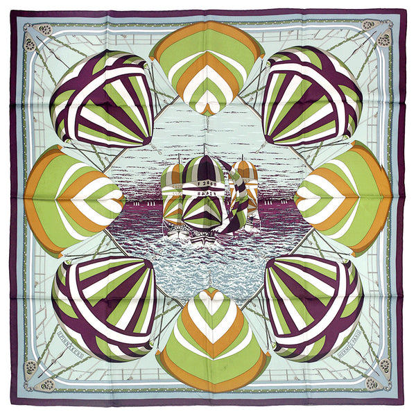 "Hermes Scarf ""Spinnakers"" by Julia Abadie 90cm Silk 