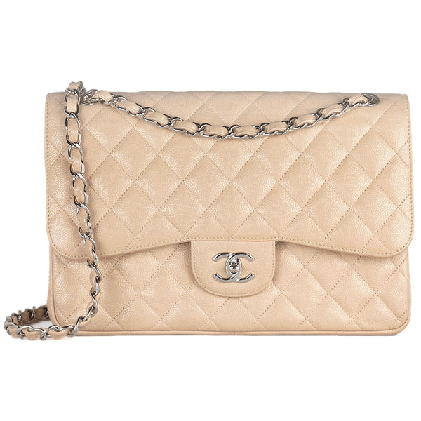 Chanel Bag Classic Double Flap Beige Caviar Leather with Silver Hardware Jumbo | 100% Authentic