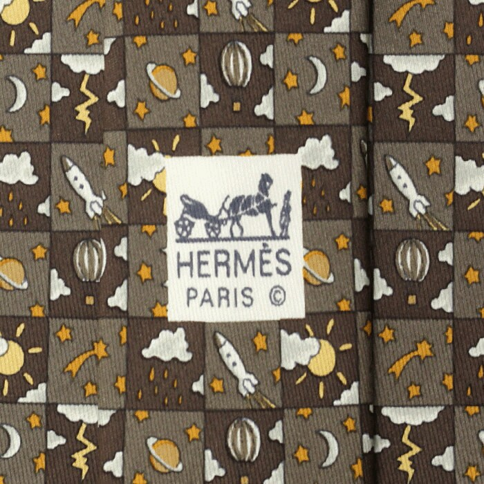 Hermes Men's Silk Tie Whimsical Space and Weather Pattern 7803 | Necktie Cravate