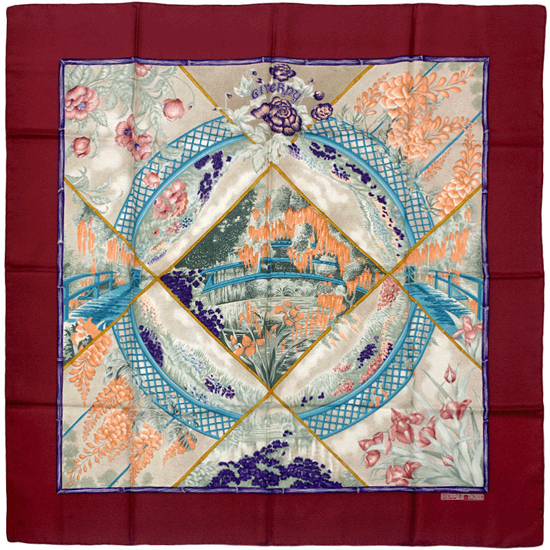 "Hermes Scarf ""Giverny"" by Laurence Bourthoumieux 90cm Silk 