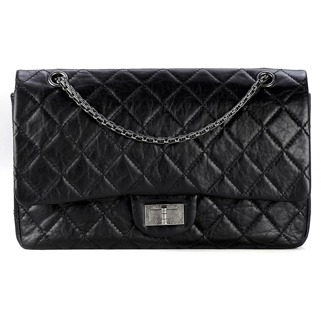 Chanel Bag 2.55 Reissue Aged Calfskin Leather SHW Black Large 227 | 100% Authentic