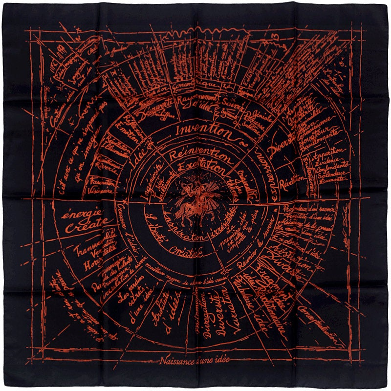 "Hermes Scarf ""Naissance d'une Idee"" by Michel Duchene 90cm Silk 