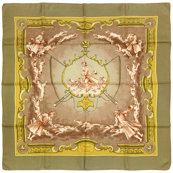 "Hermes Scarf ""Chiens et Valets"" by Charles Hallo 90cm Silk 