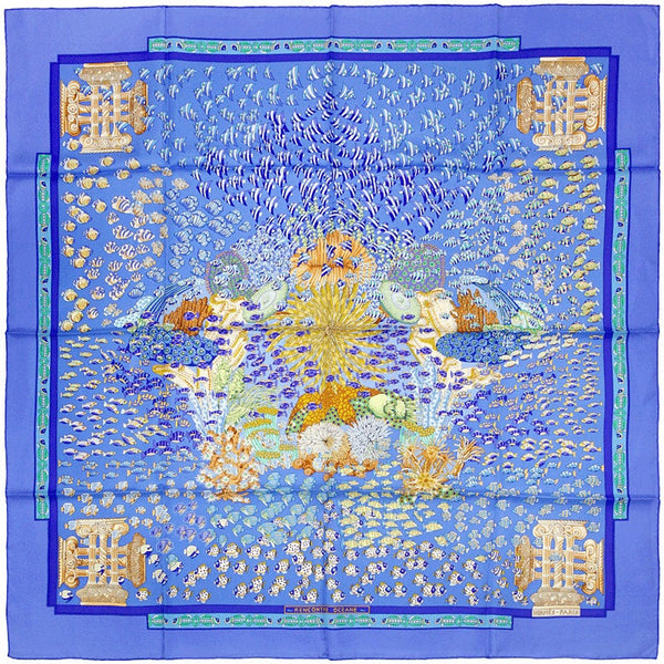 "Hermes Scarf ""Rencontre Oceane"" by Annie Faivre 90cm Silk 