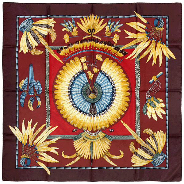 "Hermes Scarf ""Brazil"" by Laurence Bourthoumieux 90cm Silk 