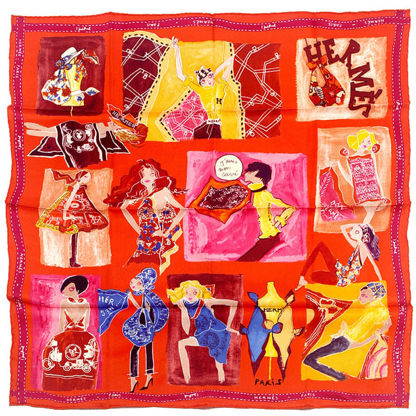 "Hermes Scarf ""J'Aime Mon Carre"" by Studio Collective 70cm Silk 