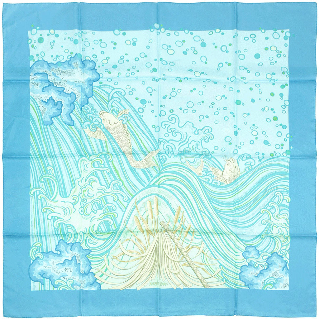 "Hermes Scarf ""A Contre Courant"" by Isabelle Barthel 90cm Silk 