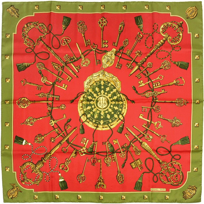 "Hermes Scarf ""Les Cles"" by Caty Latham 90cm Silk 