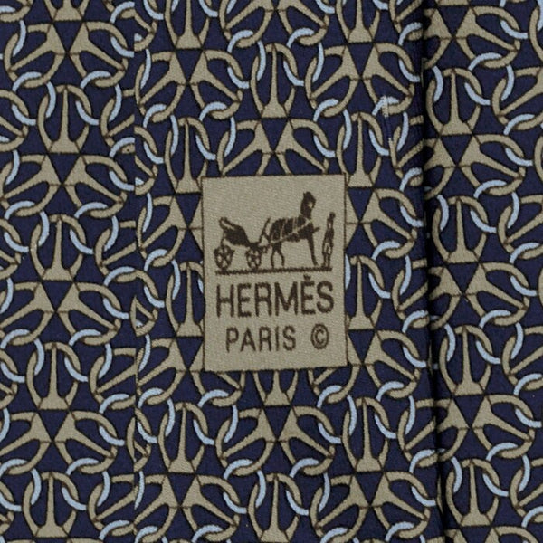Hermes Men's Silk Tie Geometric Equestrian Pattern 5512 | Necktie Cravate