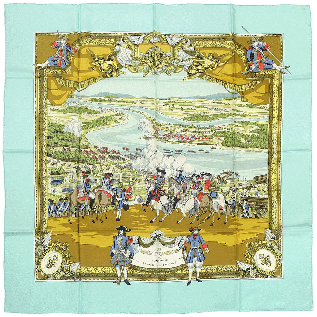 "Hermes Scarf ""Les Armees en Campagne"" by Lise Coutin 90cm Silk 