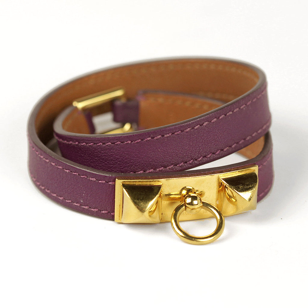 Hermes Bracelet Rivale Double Tour Calfskin Leather Gold Hardware