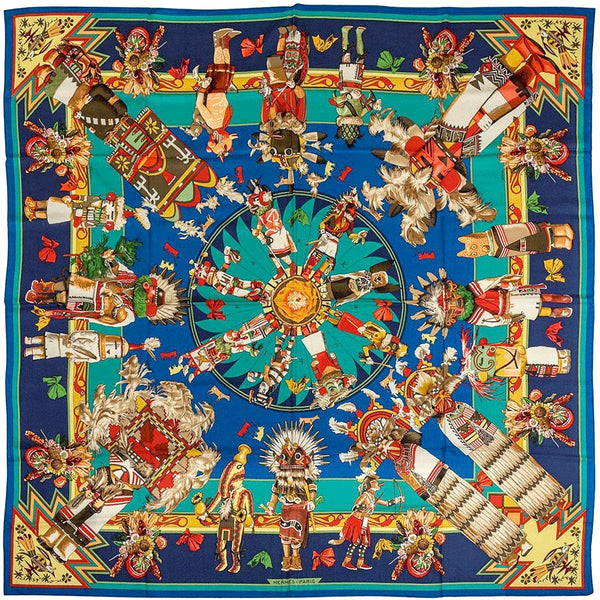 "Hermes Cashmere Scarf Shawl 140cm GM ""Kachinas"" by Kermit Oliver 