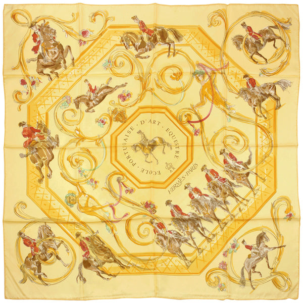 "Hermes Scarf ""Ecole Portugaise d'Art Equestre"" by Philippe Dumas 90cm Silk 
