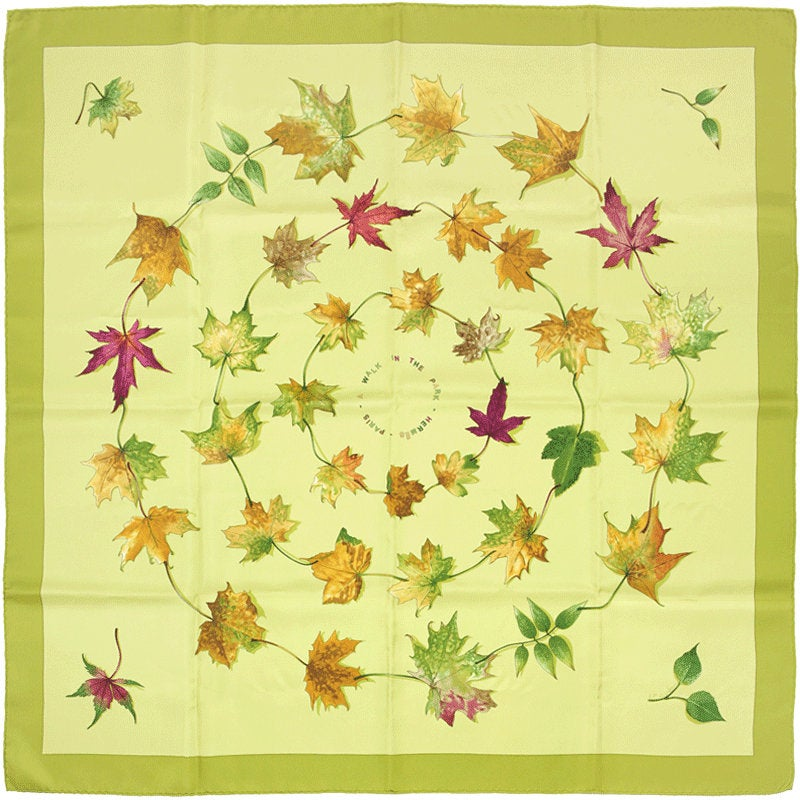 "Hermes Scarf ""Walk in the Park"" by Leigh P. Cook 90cm Silk 