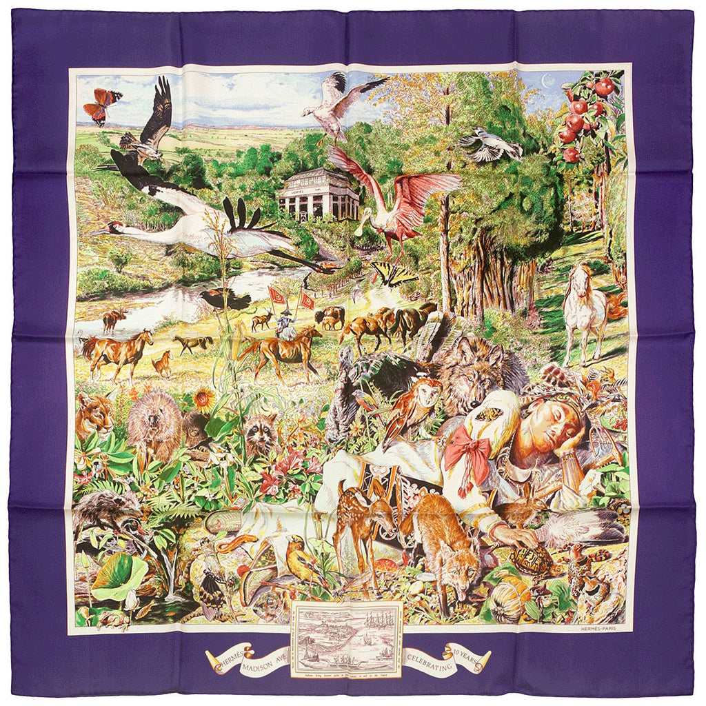 "Hermes Scarf ""Madison Ave"" by Kermit Oliver 90cm Silk 