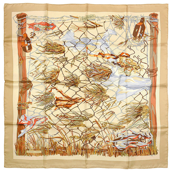 "Hermes Scarf ""Grand Vent"" by  Francoise Heron 90cm Silk 