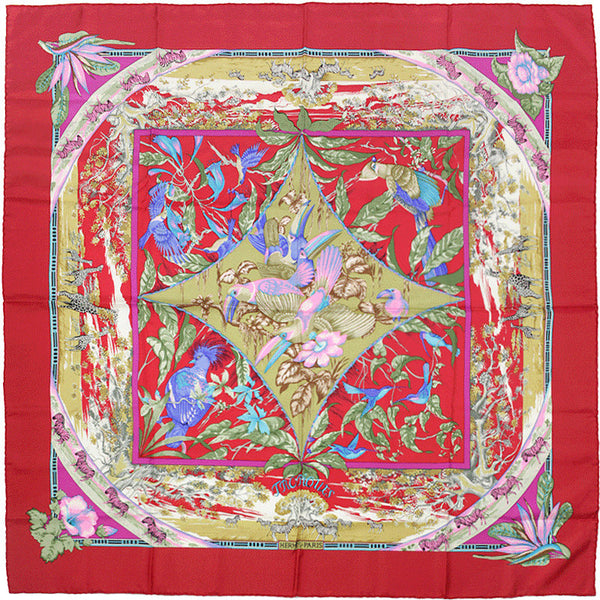 "Hermes Scarf ""Tropiques"" by Laurence Bourthoumieux 90cm Silk 