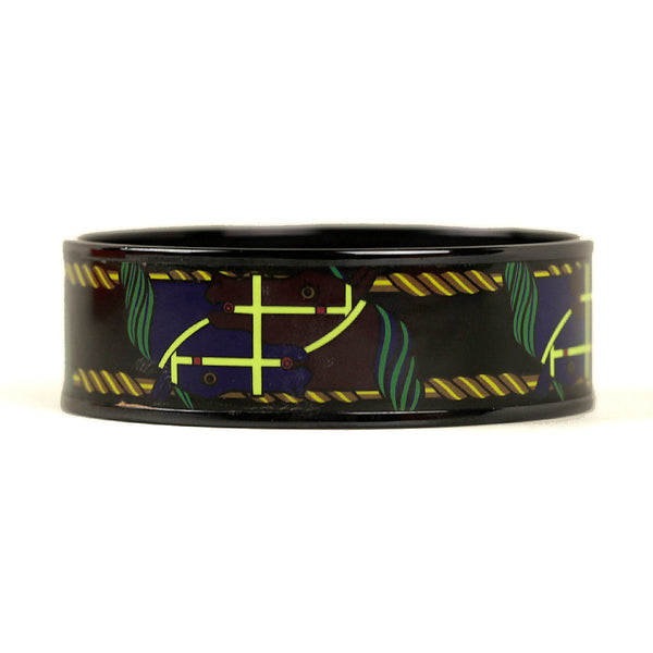 Hermes Bracelet 65 Wide Enamel PVD Plated Quadrige | Bangle