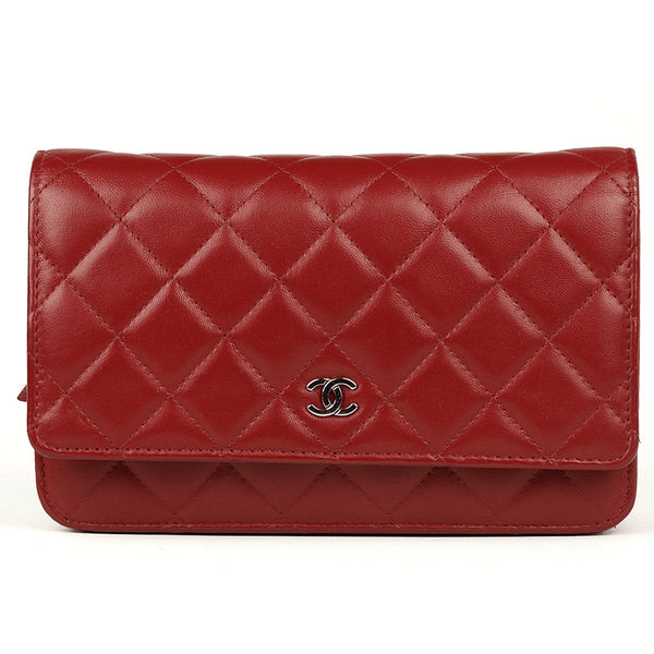 Chanel Bag Wallet on Chain (WOC) Red Quilted Lambskin Leather with Silver Hardware