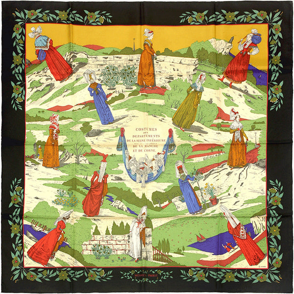 "Hermes Scarf ""Coiffes Normandes"" by Zoe Pauwels 90cm Silk 