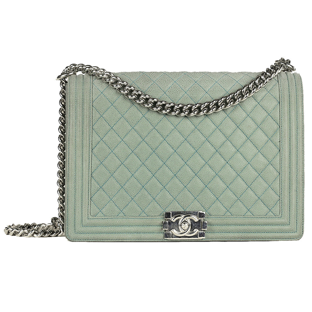 Chanel Boy Bag Large Caviar Leather with Ruthenium Hardware
