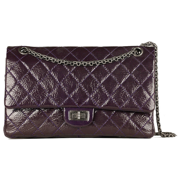 Chanel Bag 2.55 Reissue Dark Purple Patent Leather with Silver Hardware 226