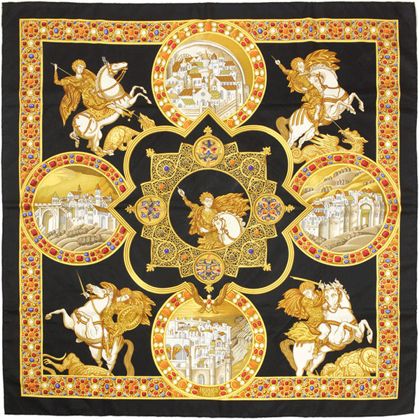 "Hermes Scarf ""Le Triomphe du Paladin"" by Julia Abadie 90cm Silk 