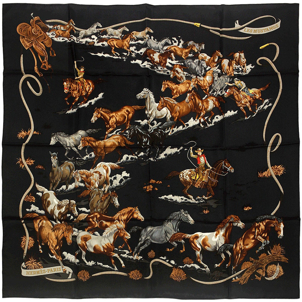 "Hermes Scarf ""Les Mustangs"" by Robert Dallet 90cm Silk 