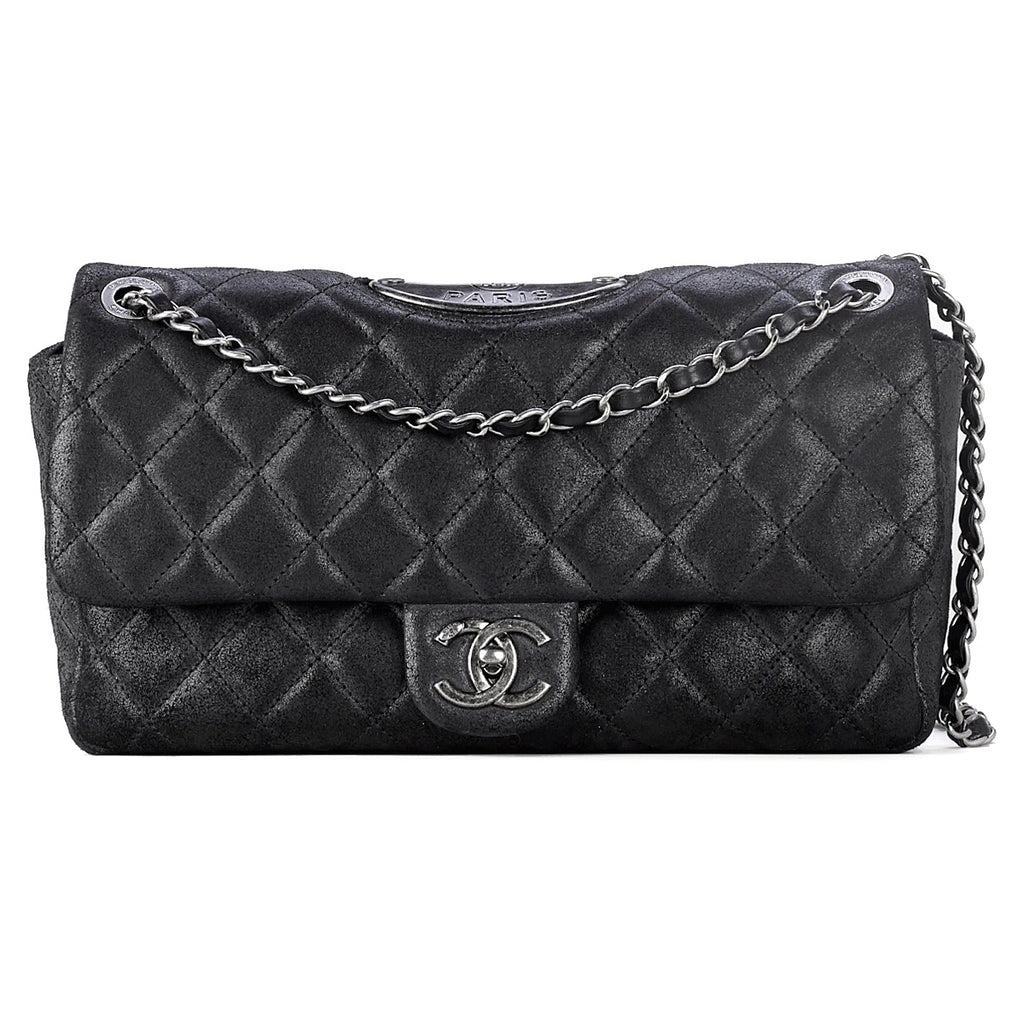 Chanel Paris-Dallas Medium Classic Flap Bag Black Cowhide Leather Aged Silver HW