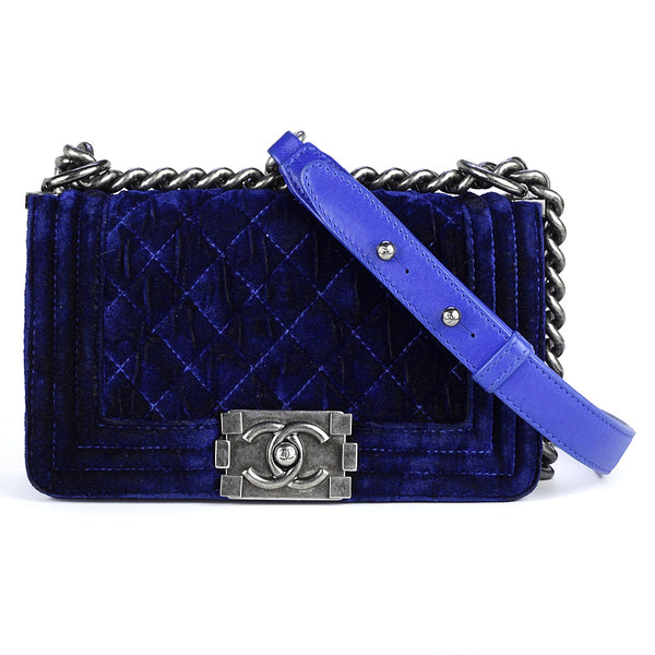 Chanel Boy Bag Blue Velvet Quilted with Ruthenium Hardware Small
