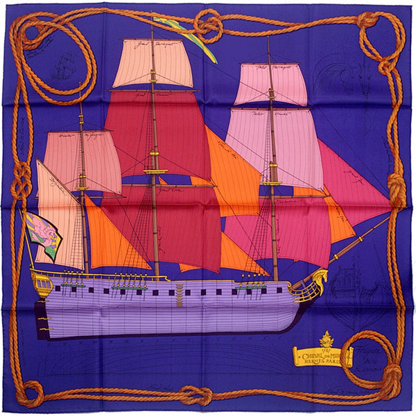 "Hermes Scarf ""Cheval de Mer"" by Christian Renonciat 90cm Silk"