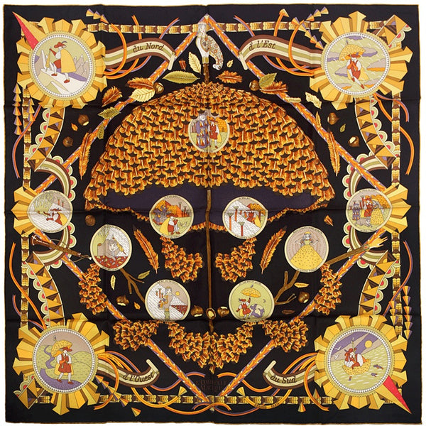 "Hermes Scarf ""Ombrelle Magique"" by Pierre Marie 90cm Silk"