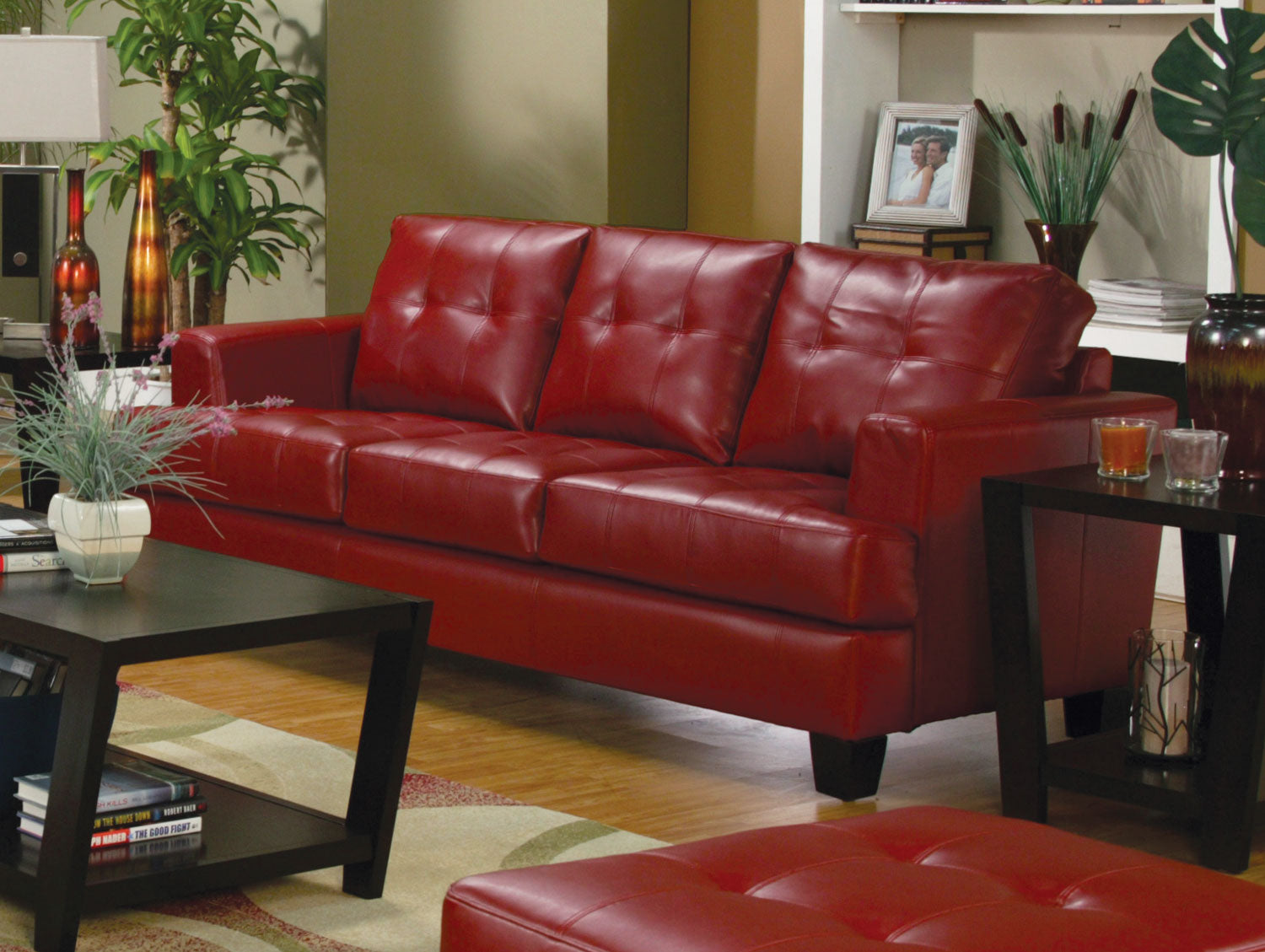 Red Bonded Leather Living Room Set – Best for Less Mattress ...