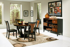 Transitional Amber And Black Dining Set 5 Piece