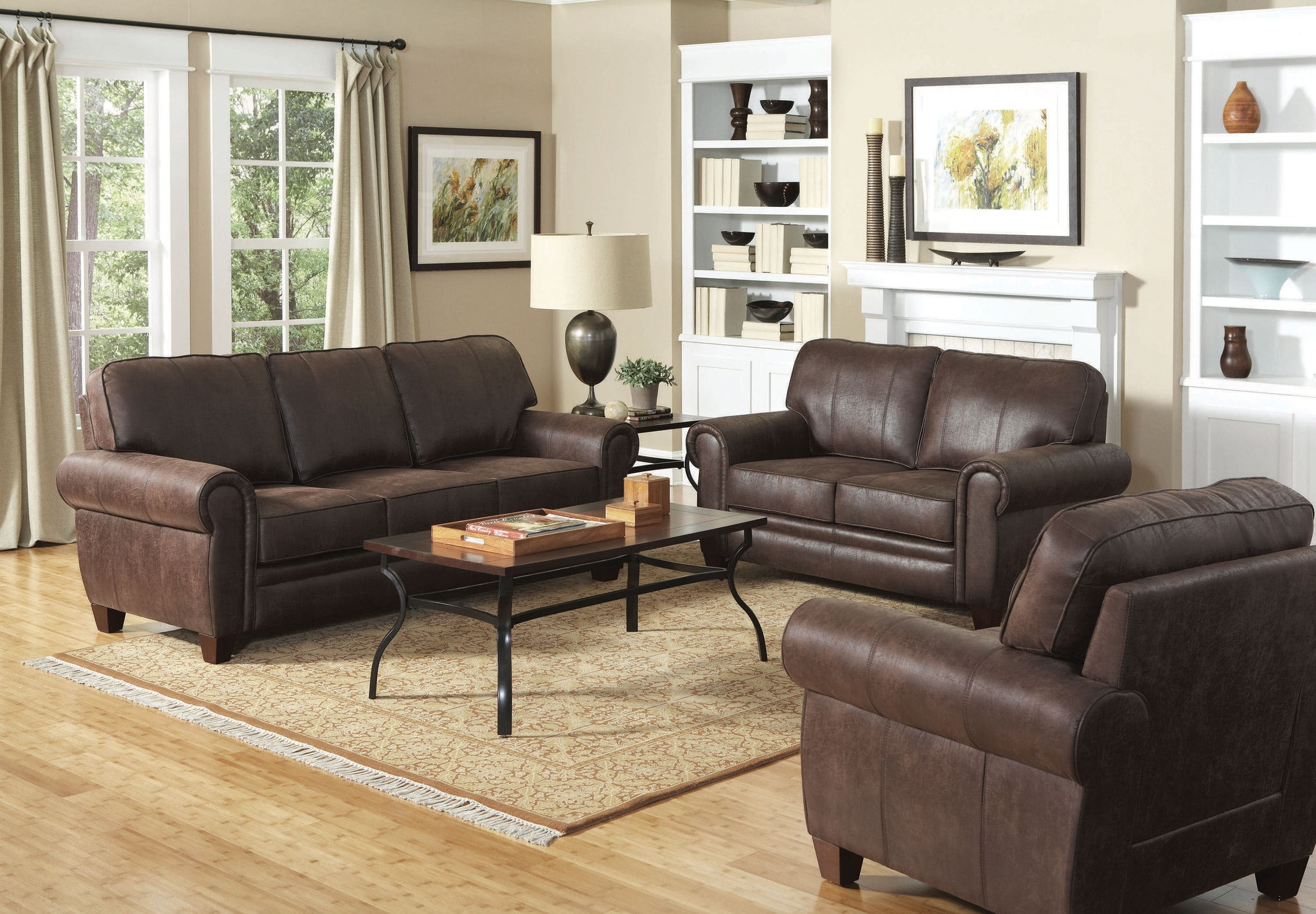 Traditional Brown Leather-like Microfiber Living Room Set – Best for ...