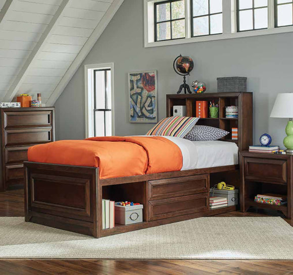 Transitional Maple Oak Twin Storage Bed