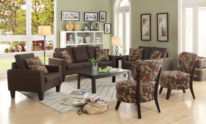 Chocolate Linen Upholstered Living Room Set