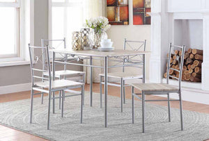 Brushed Sliver 5 Piece Dining Set